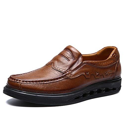 HILOTU Herren Atmungsaktive Oxford Schuhe Leder Fashion Sculpting Hohe Laufsohle Schuhe Bequeme Schuhe Im Britischen Stil (Color : Light Brown, Größe : 45 EU) -
