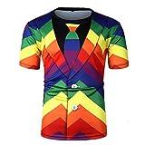 MOTOCO Herren Kurzarmhemd Top O-Neck T-Shirt V-Ausschnitt Krawatte Gefälschte Zweiteiler Streifen Farbdruck Lässige Knopf Regenbogen Gürtel Top Kurzarm(L,Rot)