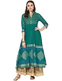 Zoeyams Women's Green Cotton Block Prints Long Anarkali Kurti