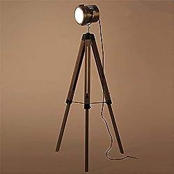 Lámpara de pie Vintage trípode de madera con tubo de lámpara de bronce 180deg;Lámpara de pie industrial ajustable Searchlight E27 1.41M con interruptor de pie for sala de estar Dormitorio Oficina de l