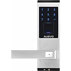 AUSVO Fingerprint Door Lock Biometric Smart Keyless Digital Touchscreen Keypad Lever Lockset with Knob Handle Stainless Steel Left-Handed