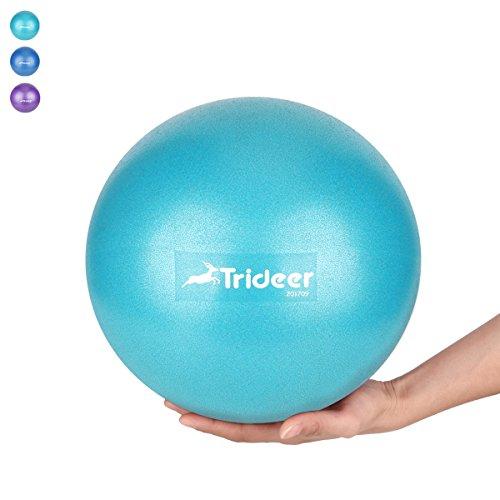 Mini Pilates Ball von 23 cm / 25 cm. klein Gymnastikball inkl. Aufblasen Röhrchens. Für Fitness, Reha, Rückentraining und coordination Herren Damen Kinder. Erhältlich in aktuellen Trendfarben : blau, türkis, violett.