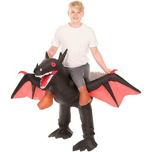 Morph Schwarz Aufblasbare Ride-On Drache Halloween-Kostüme für (Morphsuit Kostüm Kinder)