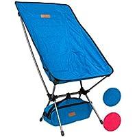 Trekology compatto portatile da campeggio con schienale alto con poggiatesta–ultraleggero sedia in una borsa zaino per campeggio, spiaggia, escursioni, pesca, picnic, patio, sport, eventi, Blue