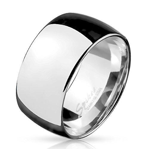 Paula & Fritz BREITER Dome 10mm breit Damen-ring Verlobungs-ring Freundschaftsring Herrenring Partnerring Edelstahl Chirurgenstahl 316L silber 69 (22)