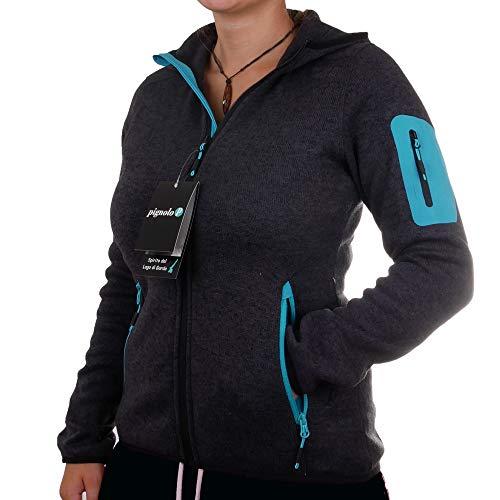 Pignolo Strickfleece-Sweatjacke-Outdoor Jacke Damen Kiara II, Größe:46, Farbe:Schwarz-türkies