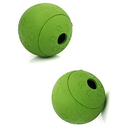 Treat Ball Hundespielzeug Für Haustier Erhöht IQ Interactive Food Dispensing Ball Hund Undicht Lebensmittel Ball Gummi Spielzeug - 2St,Green,M:11CM -