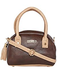 ESBEDA Brown & Beige Solid PU Synthetic Slingbag For Women