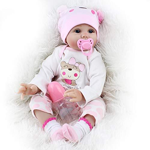 OUBL 22Zoll 55 cm Günstig Kinder Silikon Vinyl lebensecht Doll Mädchen Magnetismus Puppe Reborn Babys Spielzeug Geschenke