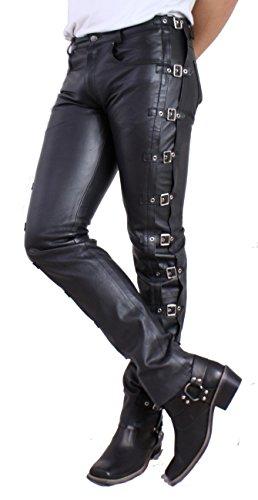 RICANO Bucket Herren Slim Fit Lederhose mit Schnallen im 5 Pocket Stil (Jeans Optik) aus Rind Nappa Echtleder...