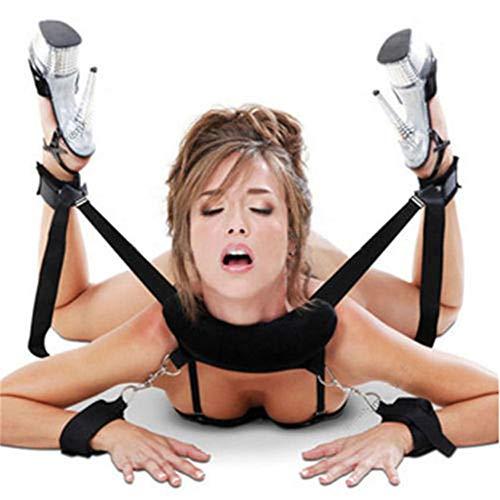 SM Bondage Set BDSM Fesselset SM Sexspielzeug Extrem Betten Fesseln mit Handschellen für Paare Gays, für Einsteiger und Erfahrene, für Sex-Spiele - Schwarz