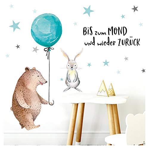 Little Deco Aufkleber Bär mit Luftballon I M - 120 x 82 cm (BxH) I Wandbilder Wandtattoo Kinderzimmer Mädchen Deko Babyzimmer Junge Kinderbilder Sticker DL192 (Aus Bis Luftballons)