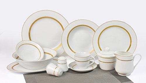 Topkapi Victoria TK-990Service de Table 43pièces décor or, porcelaine, rond