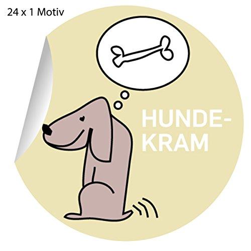 5x24 lustige Hunde Aufkleber mit Knochen, MATTE Papieraufkleber für Geschenke, Etiketten für Tischdeko, Pakete, Briefe und mehr (ø 45mm; 1 Motiv): Hundekram (Hund Jagd-lustigen)