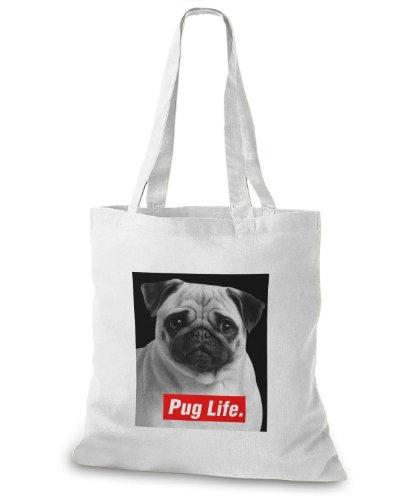 StyloBags Jutebeutel / Tasche Pug Life v2 Weiß
