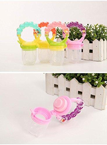 Reizbaby Silikon Babynahrung Feeder Schnuller mit Rassel Fresh Fruit Feeder Beißring (3 Stück) Kinderkrankheiten Spielzeug für Kleinkinder alle Größen enthalten BPA frei