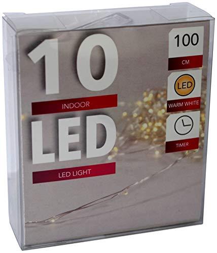 HiT LED Draht Lichterkette Batterie warmweiß Timer Tropfen 10 20 40 LEDs biegsam (10er)