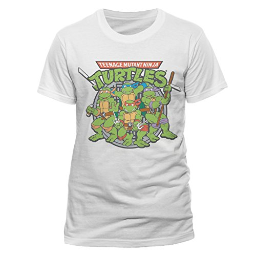 Teenage Mutant Ninja Turtles Herren T-Shirt Group, Weiß-Weiß, (Teenage Ninja Mutant Turtles Ninja)