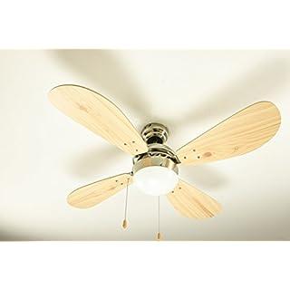 AireRyder Deckenventilator Classic mit Beleuchtung, [Artikelzustand]:A - Ware;[Gehäusefarbe/ Flügelfarbe]:Nickel gebürstet/ Kiefer
