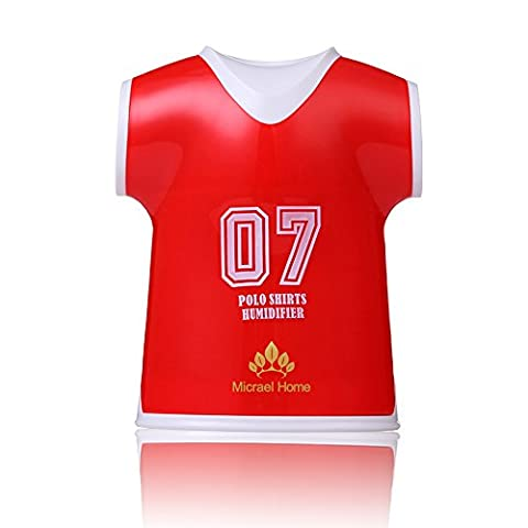 Micrael Home Jersey Shirt Humidifier Quiet Operation Auto Shut-off Portable USB Charge Air Purifier for Ball Game Fans, Red
