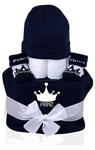 Trend Mama Windeltorte Junge navy blau Krone PRINZ 1x bedrucktes Lätzchen,1x Babymütze,1x Baby PrinzSocken + Grußkarte| Geschenk Geburt