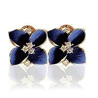 الأزرق الملكي ستيريو بلوري زهرة الكاميليا حجر الراين أقراط مجوهرات امرأة الأذن ترصيع