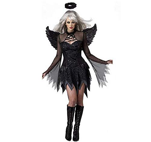 Angel Mann Black Kostüm - XWDQ Halloween Black Devil Cosplay Kostüm Forwomen Vampire White Angel Kleid Mit Flügeln Erwachsene Sexy Party Hexe Kostüme Mädchen,Black,XXL