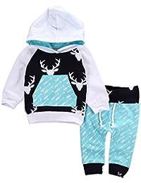 Weihnachten Christmas Unisex Kinder Outfits - Highdas Mädchen Jungen Sportanzug Outerwear Elch Hooded Shirt + Hosen 2 Stück Weihnachtsset Sport Änzuge 0-5 Jahre