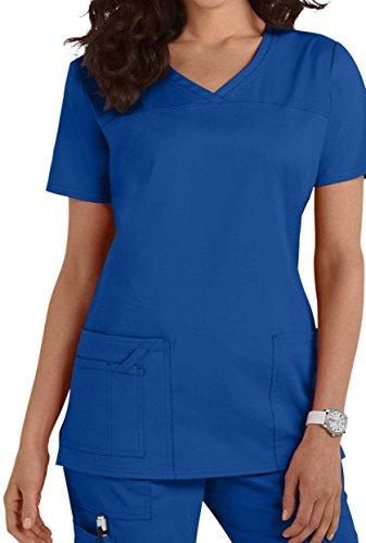 Smart Uniform 1122 V Neck Top (M, Blau [Blue]) - Scrubs Uniform Shirt