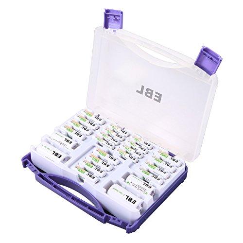 EBL Set 24er Kombi-Pack, inkl. AA Batterien 12 * 2800mah AAA Akkus 8 * 1100mah Mignon AA, Micro AAA, Baby C, Mono D mit Akkubox