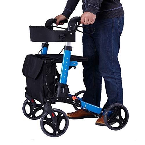EGCLJ Senioren Faltender Rollator Walker - 4-Rad-Rolling Walker Mit Sitz Und Tasche - Walker Einkaufswagen - Mobilitätshilfe Für Erwachsene, Senioren, Ältere Menschen