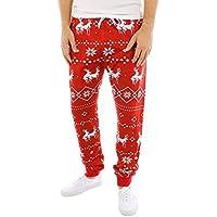 ZEZKT Große Größen Weihnachten Casual Hose Baumwolle Sweat-Pants Lange Pajama Nachtwäsche Sleepwear Hose Moderne Stoffhose Regular fit für Herren und Jungen