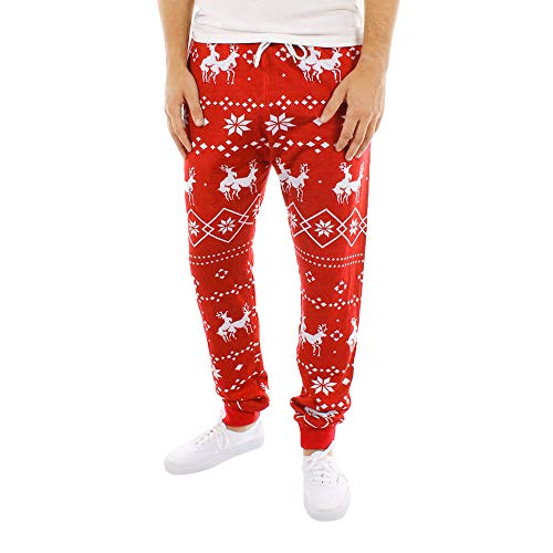 (Geili Herren Damen Weihnachten Hosen Festlich Christmas Xmas Gedruckt Jogginghose Freizeithose Sweatpants Regular Fit Skinny Sporthose mit Kordelzug)