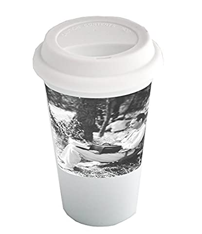 Coffee cup with Man reading a book.