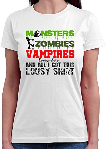 HARIZ  Damen T-Shirt Rundhals Monsters Zombie Vampires All I Got This Shirt Halloween Kostüm Verkleidung Umhang Plus Geschenkkarte Weiß L