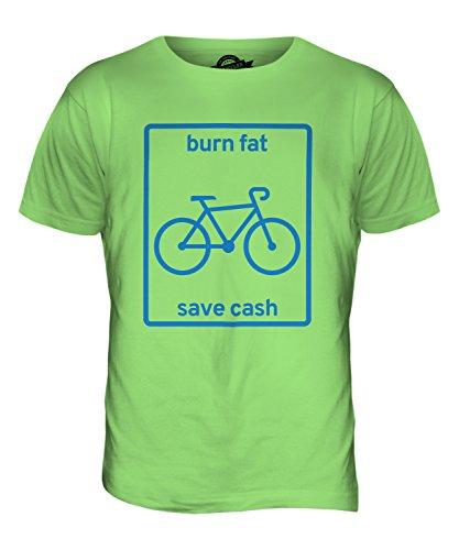 CandyMix Radfahren Burn Fat Save Cash Herren T Shirt Limettengrün