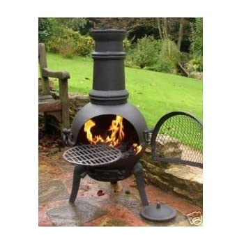 Elegant Oxford Leisure Black Steel Cast Iron Chiminea With Removable Grill For  Barbecues. Height: 85cm