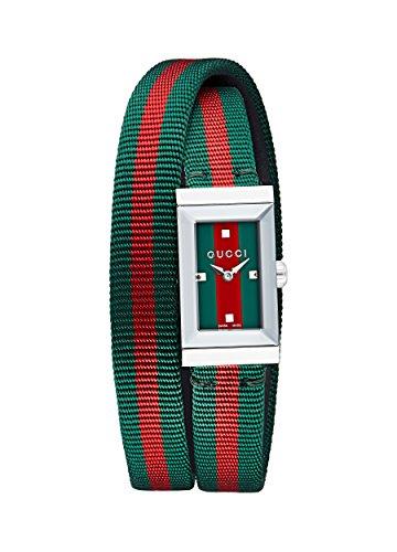 Gucci Damen Datum klassisch Quarz Uhr mit Nylon Armband YA147503