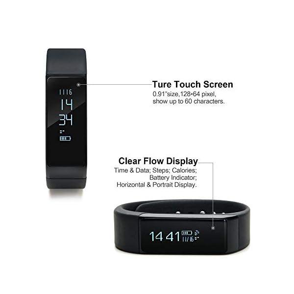 WADEO Fitness Tracker, Pulsera de Actividad Smart Bluetooth Pulsera podómetro Smart Bracelet Sleep Monitor, Reloj de Actividad Impermeable con Banda de reemplazo para Android y iOS (Negro-2) 4