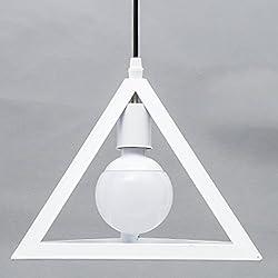 Retro Triángulo Iluminación Colgante, Vintage Industrial Colgante de Luz apariencia diseño geométrico E27 Moderna Lámpara de Techo (Blanco)