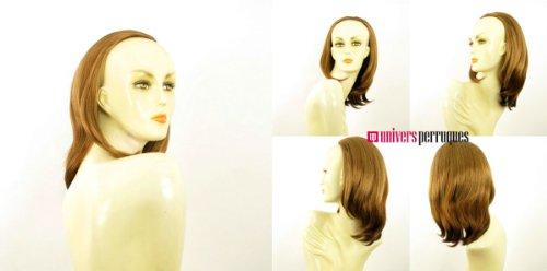 Demi-tête, demi-perruque courte lisse 40 cm blond foncé cuivré ref 021 en g27