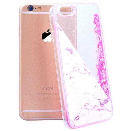 WE LOVE CASE Coque iPhone 6, Coque iPhone 6S Marbre de Protection en Premium Hard Plastique Dur Liquide Bling Coque iPhone 6 Paillette Anti Choc Bumper Mince, Anti-Rayures Anti-dérapante Coque Apple i Pink