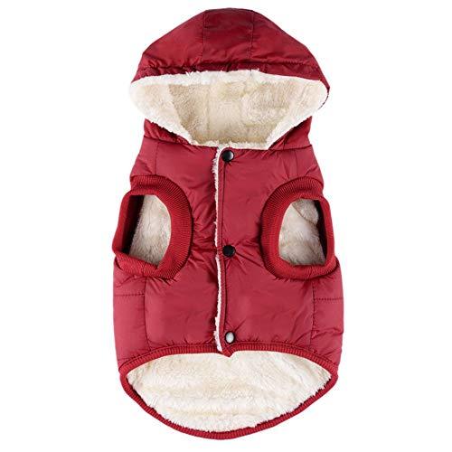 Themen Kostüm Wein - Smniao Hundebekleidung für Kleine Hunde Pullover Vlies Hoodies Haustier Bekleidung Winter Warm Puppy Hund Jacke Mantel Daunenjacke (M, Wein)