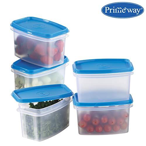 Primeway® Modular Kitchen Food Savers Plastic Storage Containers, 750ml, 5 Pcs Set, Blue