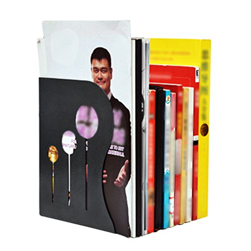 Liying Neu Einstellbar Buchstütze Dehnbare Buchständer Stehsammler Zeitschriftensammler Buchhalter schöne Metallbügel für Schule Büro Schwarz