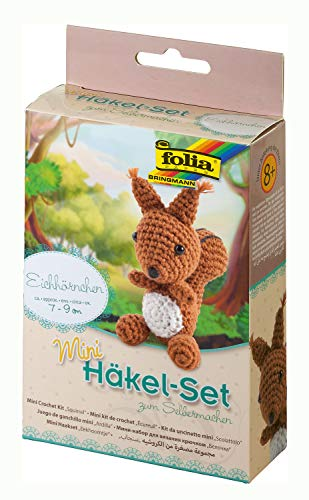 folia 23907 - Mini Häkelset Fuchs, Komplettset zur Erstellung von einem selbst gehäkelten niedlichen Fuchs, ca. 8 - 9 cm groß, für Kinder ab 8 Jahren und Erwachsene, als Geschenk -
