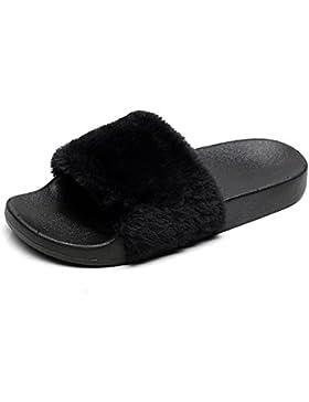[Sponsorizzato]APIKA Pantofola di pelliccia del Faux Flop delle donne Fuzzy Fluffy Comfy Sliders Aprire la punta Slip on