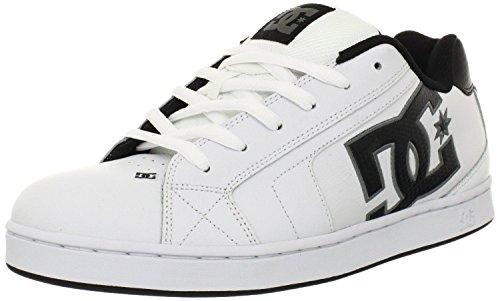 DC Net Blanc Noir Gris Cuir Hommes Skate Baskets Chaussures