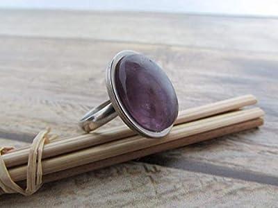 Bague ajustable ovale avec pierre de gemmes amethyst mauve - acier inoxydable - 55, cadeaux pour elle, cadeaux de noël, cadeaux anniversaire, fête des mères