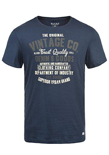 Blend Vadim Herren T-Shirt Kurzarm Shirt Mit Print Und Rundhalsausschnitt Aus 100{da943bd0d626e1762be026fc449358e7c2a79d9650fb702a8705a3f6a380c449} Baumwolle, Größe:L, Farbe:Mood Indigo (74648)